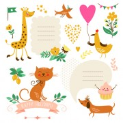 Link toCute animals with labels design vector 01 free