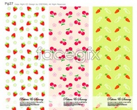carrot cherry strawberry vector backgrounds Cute