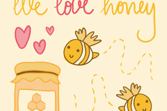 Cute bee and honey background vector