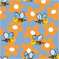 Link toCute bee flowers vector 2 continuous background