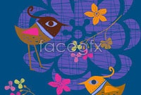 Link toCute bird hand-painted flowers vector c
