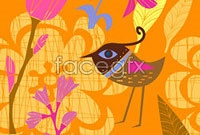 Link toCute bird hand-painted flowers vector ii