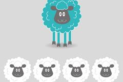 Link toCute black face sheep, vector