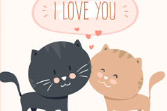 Link toCute cartoon cat lovers vector