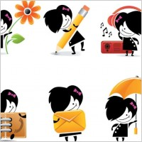 Link toCute cartoon character icons vector