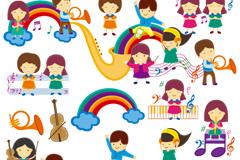Link toCute cartoon children's music course design vector