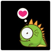 Cute cartoon monster with heart vector free