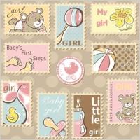 Link toCute cartoon ornaments stamp vector