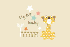 Link toCute cartoon tiger and stars vector