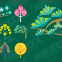 Link toCute cartoon trees vector material