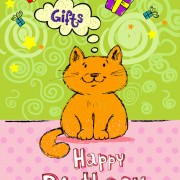 Link toCute cat birthday cards creative vector 02 free