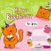 Link toCute cat birthday cards creative vector 03 free