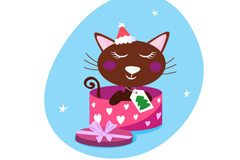Link toCute cat gift box vector