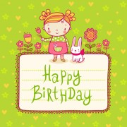 Link toCute child with rabbit birthday card vector free
