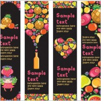 Link toCute colorful fruits and banner vector