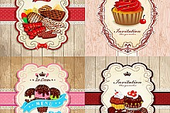 Link toCute dessert food card vector