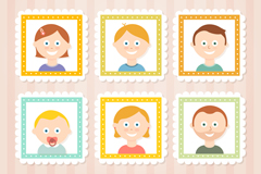 Cute family photo vector