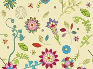 Link toCute flowers wallpaper pattern vector free