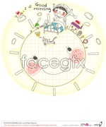 Link toCute line drawing family vector