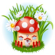 Link toCute mushroom house and white flower vector free