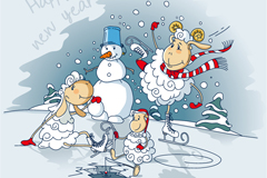 Link toCute sheep and snowman vector