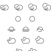 Link toCute weather line icons vector free
