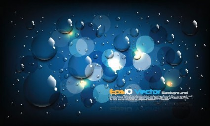 1 blue water drops background vector