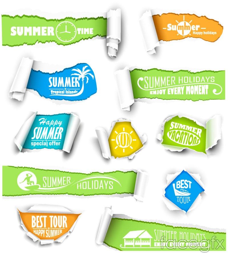 10 summer paper banner vector