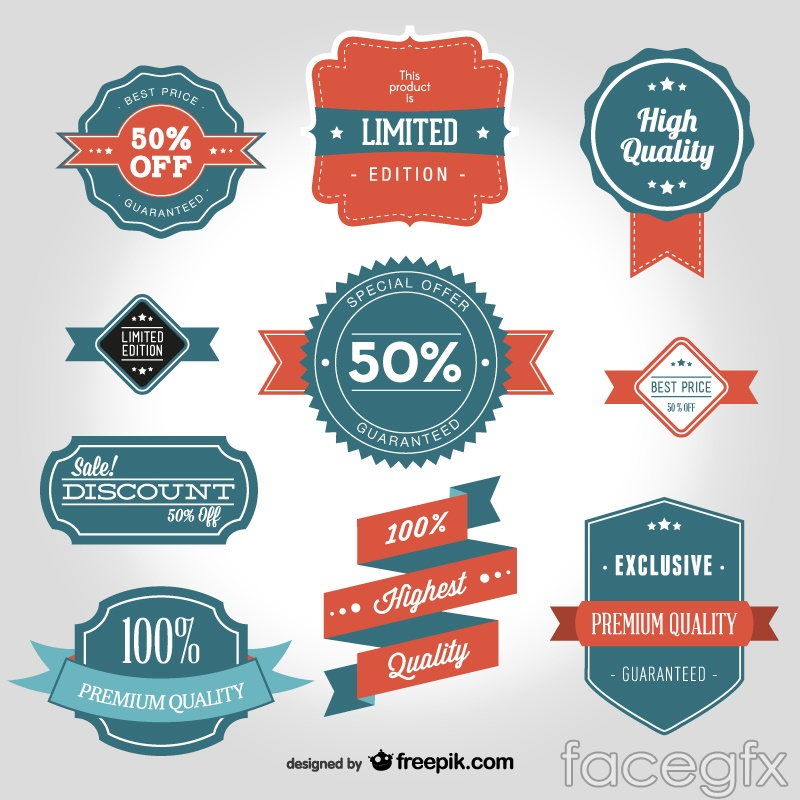 10 vintage discount tag vector