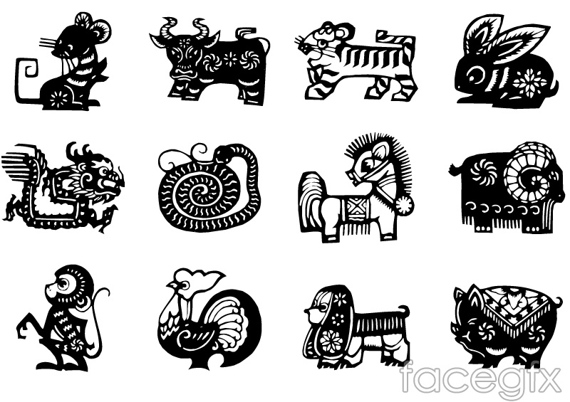 12 chinese zodiac sign black paper cut vector over millions 12 chinese zodiac sign black paper cut vector toneelgroepblik Image collections
