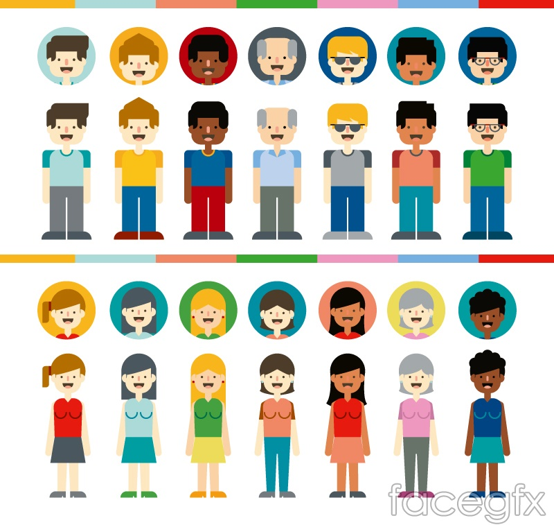 Character Design Vector Free Download : Character and avatar design vector over millions