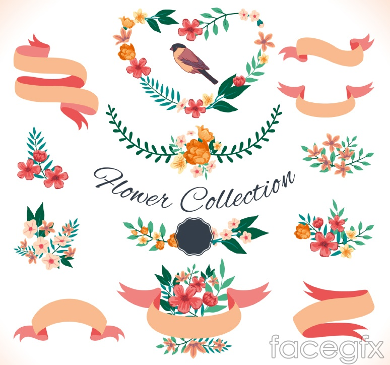 14 flower and Ribbon vector