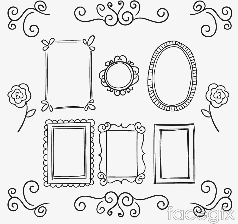 14 hand-painted patterns and frame design vector
