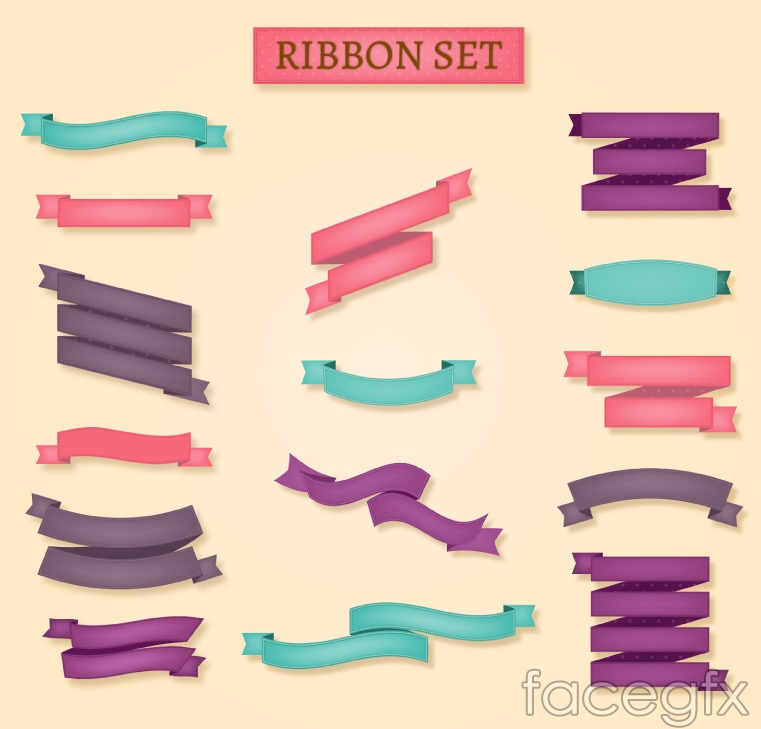 15 colored ribbon banner vector – Over millions vectors