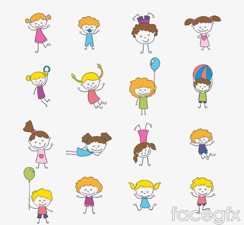 16 cartoon children playing vector graphics free download - Free Download Cartoon For Children