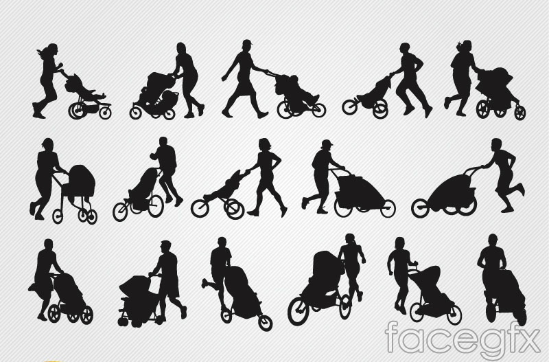 16 push the stroller people silhouette vector