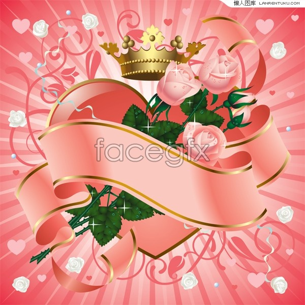 beautiful hearts and roses trend vector illustration  over, Beautiful flower