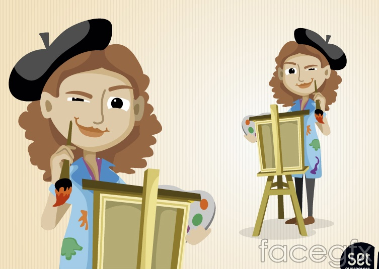 2 cartoon female artist design vector over millions Artist Palette Clip Art Free Sillouette Clip Art Painters Palette