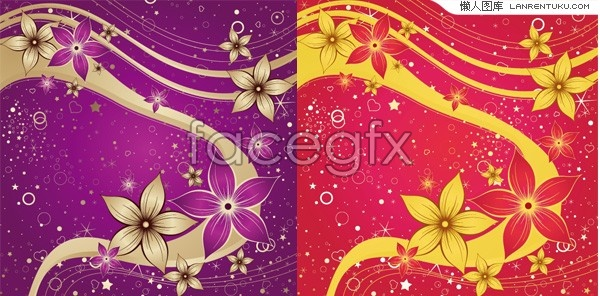 2 hand-painted flower pop background vector