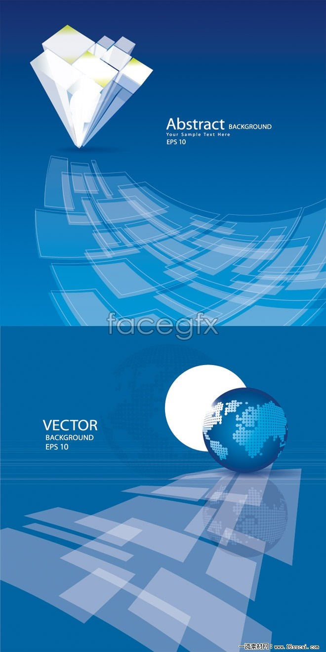 2 technology theme background vector map