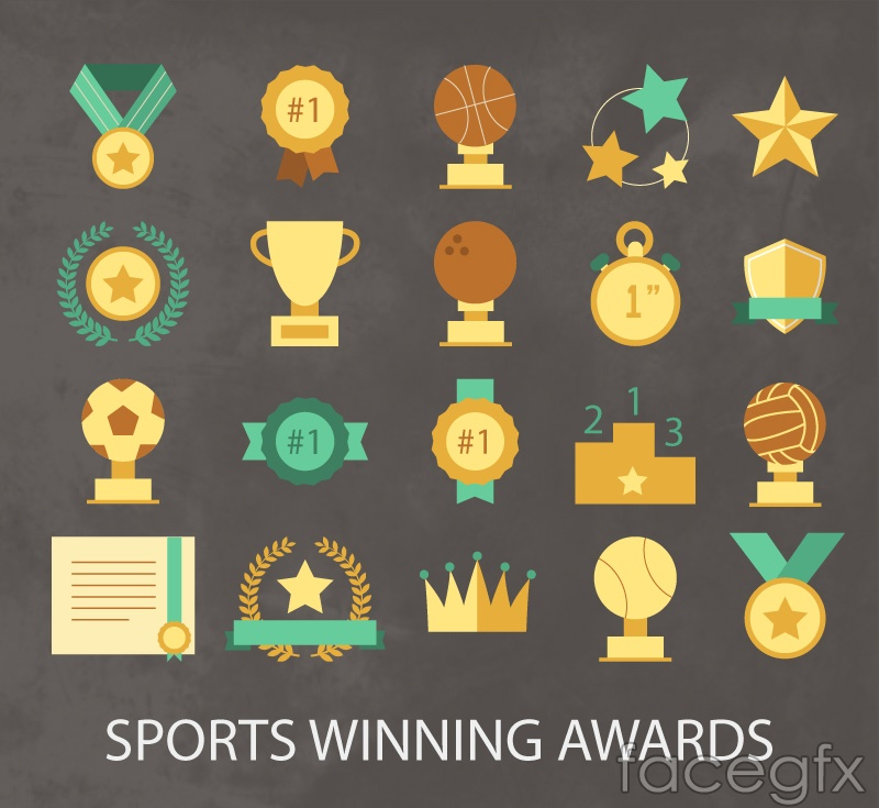 20 sports medal trophies design vector