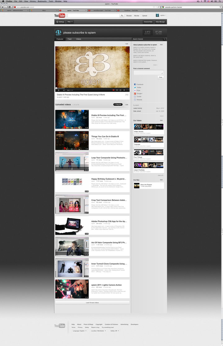 2012 Youtube Background PSD Template