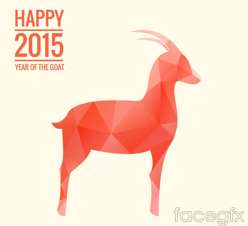 2015 red geometric-shaped goat vector – Over millions