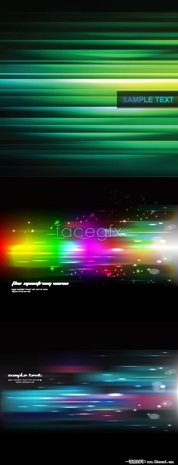 3 colorful light background vector map