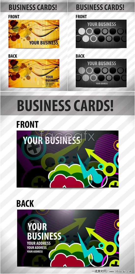 3 creative business card template vector map
