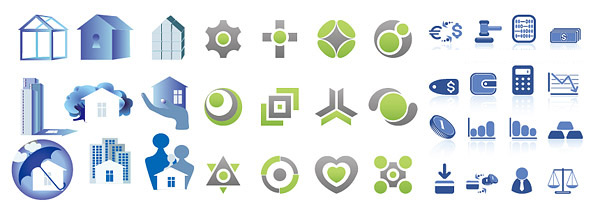 3 sets of simple graphic icons