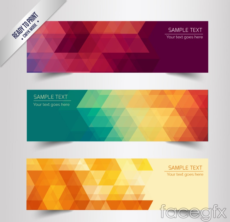 3 stylish geometric shaped banner vector over millions vectors