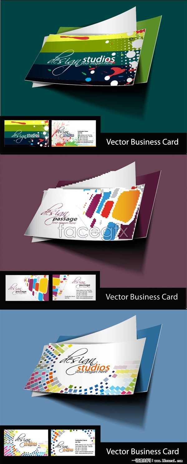 3 the trend of business card template vector graphic s