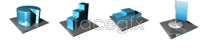 3D glass textures icons
