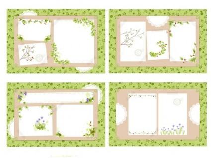 4 fresh flower vines vector bulletin board